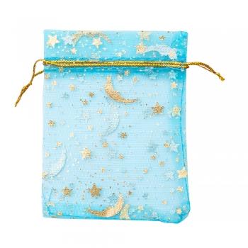 Декоративний мішечок з органзи 9,5х7 см блакитний золотим візерунком