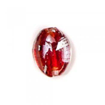 Бочонок красный. Стеклянные бусинки с фольгированным покрытием