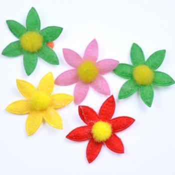Текстильные дутые элементы микс цветов цветок