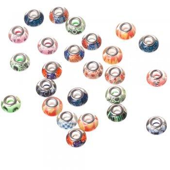 Пластиковая бусина шарм 14 мм металлическая огранка