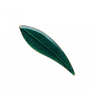 Кулон металевий емаль листочок