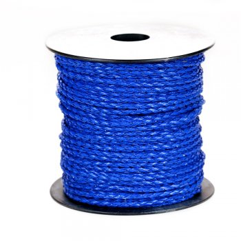 Шнур-косичка, кожзаменитель, синий, 3 мм