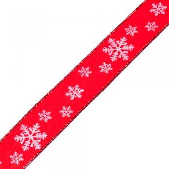 Лента атласная с узором снежинки. 40 мм. Красная.