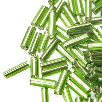 Бисер стеклярус. Зеленый. 6 мм.