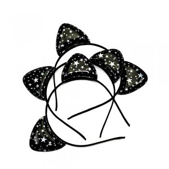 Обруч металлический декоративный со звездами черный