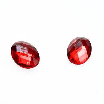 Стрази скляні клейові. Червоний. Довжина 14 мм, ширина 10 мм.