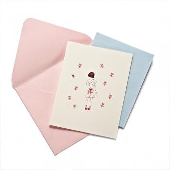 Открытка с конвертом Девочка с подарком