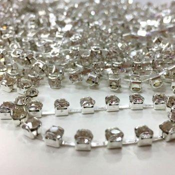Стразовая цепочка, серебро, SS6, прозрачный хрусталь