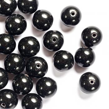Перли скляний гладкий чорний