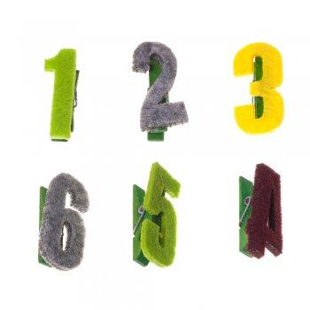 Прищепки деревянные с фетровыми цифрами. Цифра 9. Размер 40*20 мм