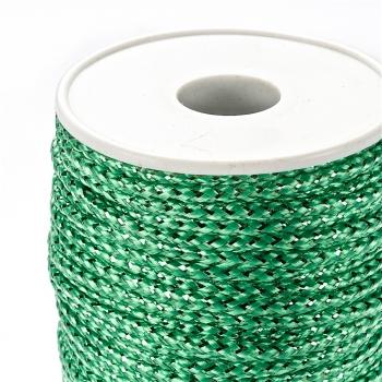 Шнур зелений поліестер із люрексом 3 мм
