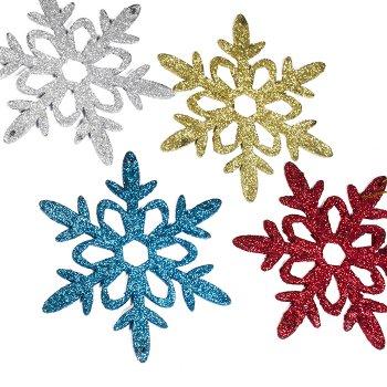 Декор новогодний Снежинка микс цветов