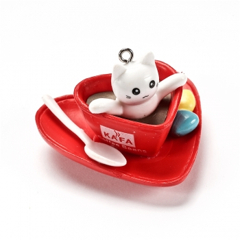 Пластиковая  подвеска Котик белый в красной чашке