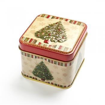 Коробочка жерстяна 7,5х7,5х6,5 см Ялинка