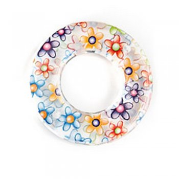 Полимерные бусины с цветочным узором. Кольцо маленькое