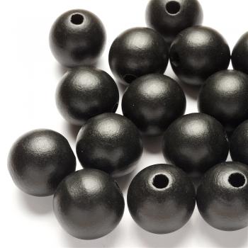 Дерев'яна намистина 25 мм чорна
