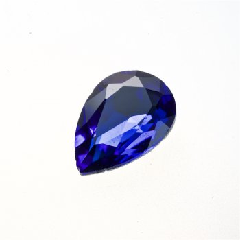 Стрази скляні вставні. Синій. Довжина 25 мм, ширина 18 мм.