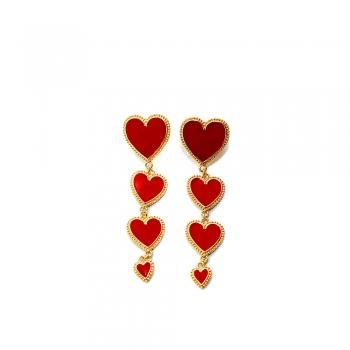 Серьги в форме сердца длинные