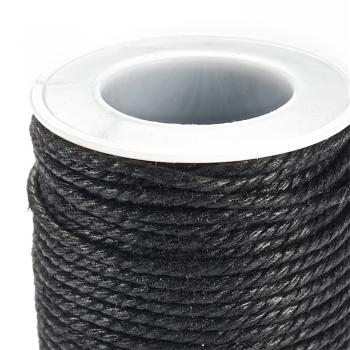Шнуры из скрученного хлопка. Черный. Диаметр 2 мм.