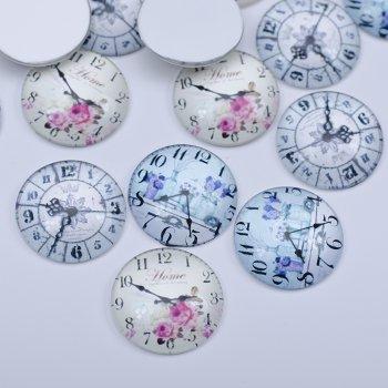 """Кабошоны стеклянные """"Часы"""", 25 мм"""