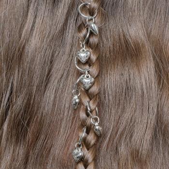 Пирсинг для волос Сердце мельхиоровое набор 7 шт