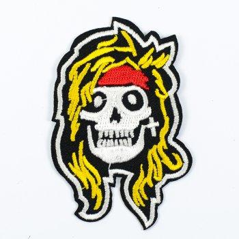 Нашивка Череп-хипстер с желтыми волосами