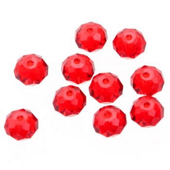 Намистина кругла сплюснута, червона, кришталь, 8 мм