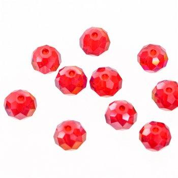 Намистина кругла, червона, кришталь, 8 мм
