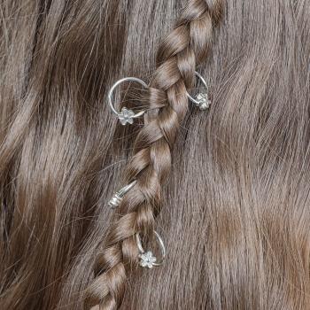 Пирсинг для волос Цветочек мельхиоровый набор 5 шт