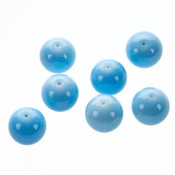 Намистина скляна 16 мм блакитна