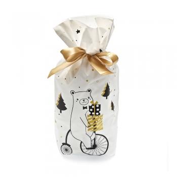 Пакет для подарков белый с мишкой