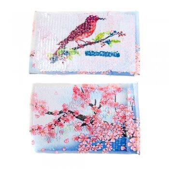 Тканевые нашивки с реверсивными пайетками Сакура