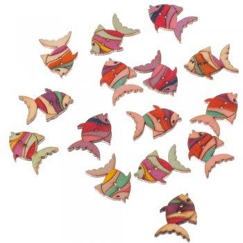 Пуговица деревянная Рыбка  бирюзовая сиреневая красная