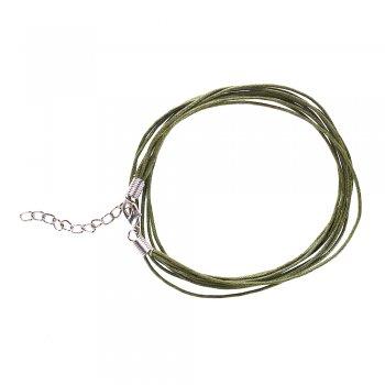 Основа для кулона 5 нитей болотно-зелёная хлопок
