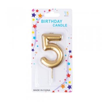Свічка цифра 5 золотиста