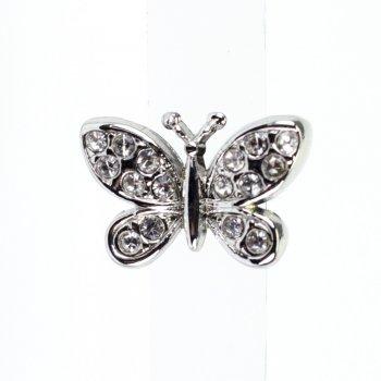 Бусина слайдер Бабочка со стразами мельхиоровая