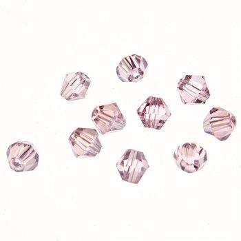 Бусина двоконечная, розовая, хрустальная, 4 мм