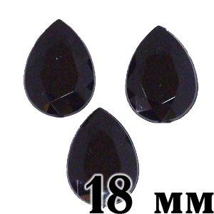Стразы клеевые пластиковые в упаковке, черные, 4 шт, 18х13 мм