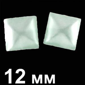 Пластикові кабошони білий опуклий квадрат 12 мм