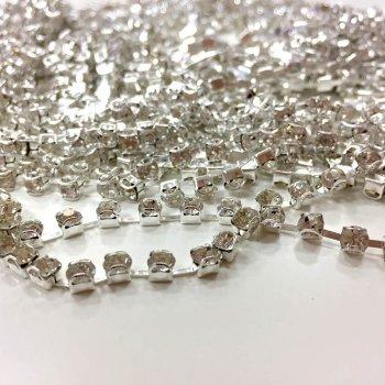 Стразовая цепочка, серебро, SS12, прозрачный хрусталь