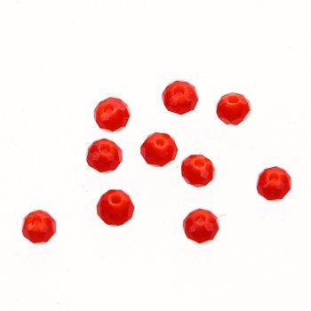 Кришталева намистина рондель 3 мм червона
