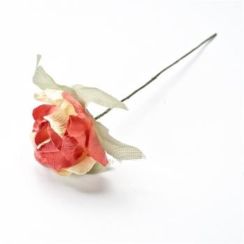 Штучна квітка. Троянда. Жовто-червона