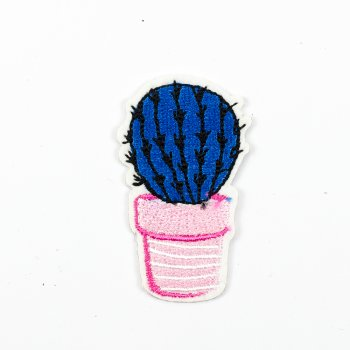 Тканевая нашивка Кактус синий