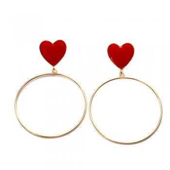 Сережки кільце з червоним серцем
