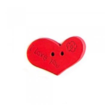Гудзик дерев'яний Серце червоний 14х21 мм