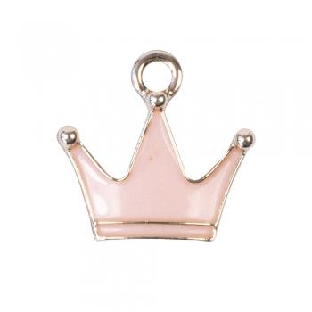 Металлическая подвеска с эмалью розовая Корона