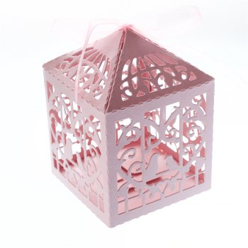 Коробочка картонная подарочная. Розовый. 10 х 6 см