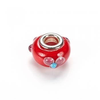 Бусины шарм стеклянные красные с объемным узором