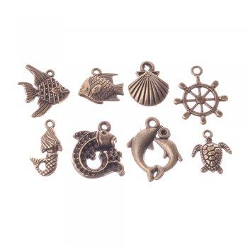 Ракушка спиральная большая металлические подвески бронзовые морские