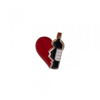 Значок пин Сердце и вино